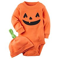 Baby Carter's Pumpkin Bodysuit & Hat Set