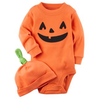 Baby Carter's Pumpkin Bodysuit & Hat Set