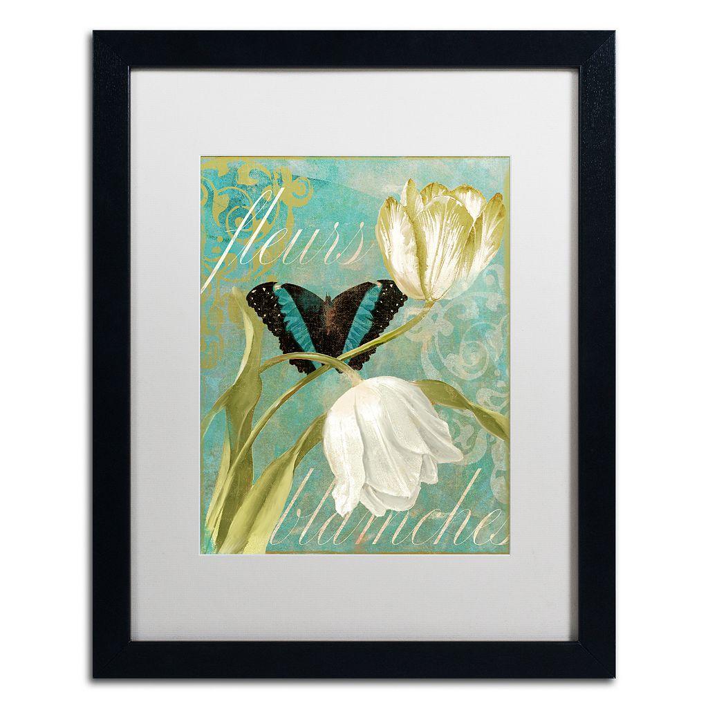 Trademark Fine Art White Tulips Black Framed Wall Art