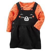 Baby Girl Carter's French Terry Black Cat Jumper & Polka-Dot Bodysuit Set