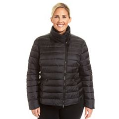 Plus Size Champion Asymmetrical Quilted Puffer Coat