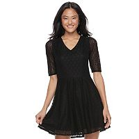 Juniors' Love, Fire Lace-Up Back Skater Dress