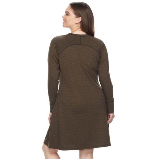 Juniors' Plus Size Cloud Chaser Contrast Stitch Sweatshirt Dress