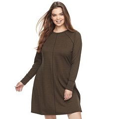Juniors' Plus Size Cloud Chaser Contrast Stitch Sweatshirt Dress