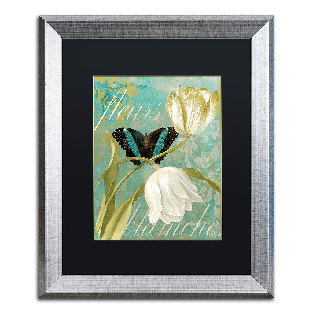 Trademark Fine Art White Tulips Silver Finish Framed Wall Art