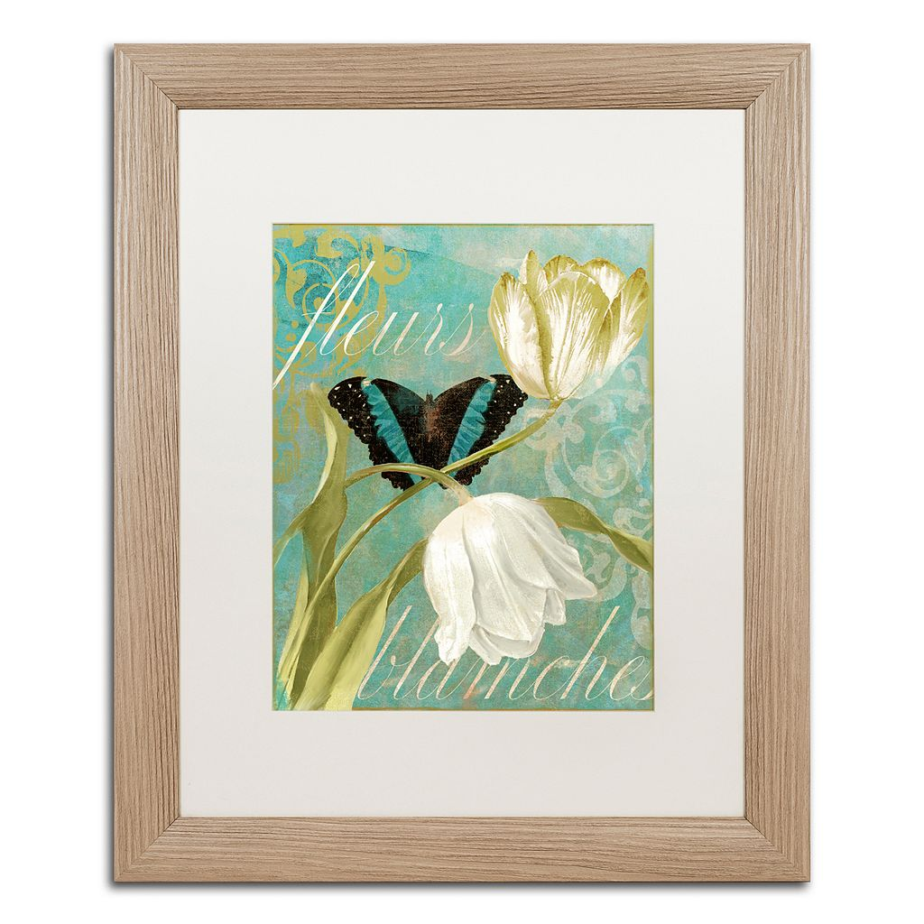 Trademark Fine Art White Tulips Distressed Framed Wall Art