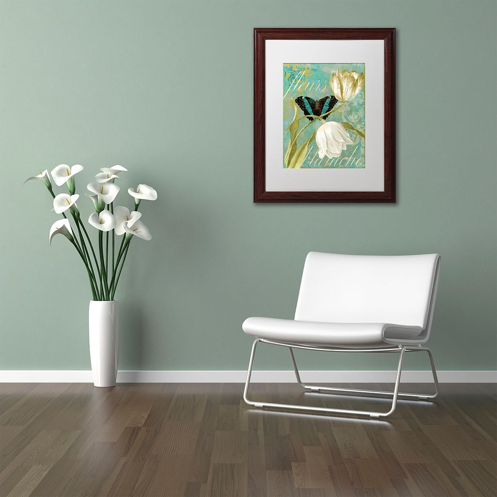 Trademark Fine Art White Tulips Framed Wall Art