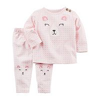 Baby Girl Carter's Embroidered Bear Top & Knee Bottoms Set