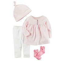 Baby Girl Carter's Babysoft Take-Me-Home Top, Bottoms, Hat & Socks Set