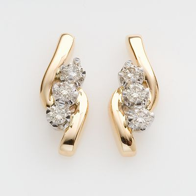 Sirena Jeans Collection 14k Gold 1/3-ct. T.W. Diamond Three-Stone Earrings