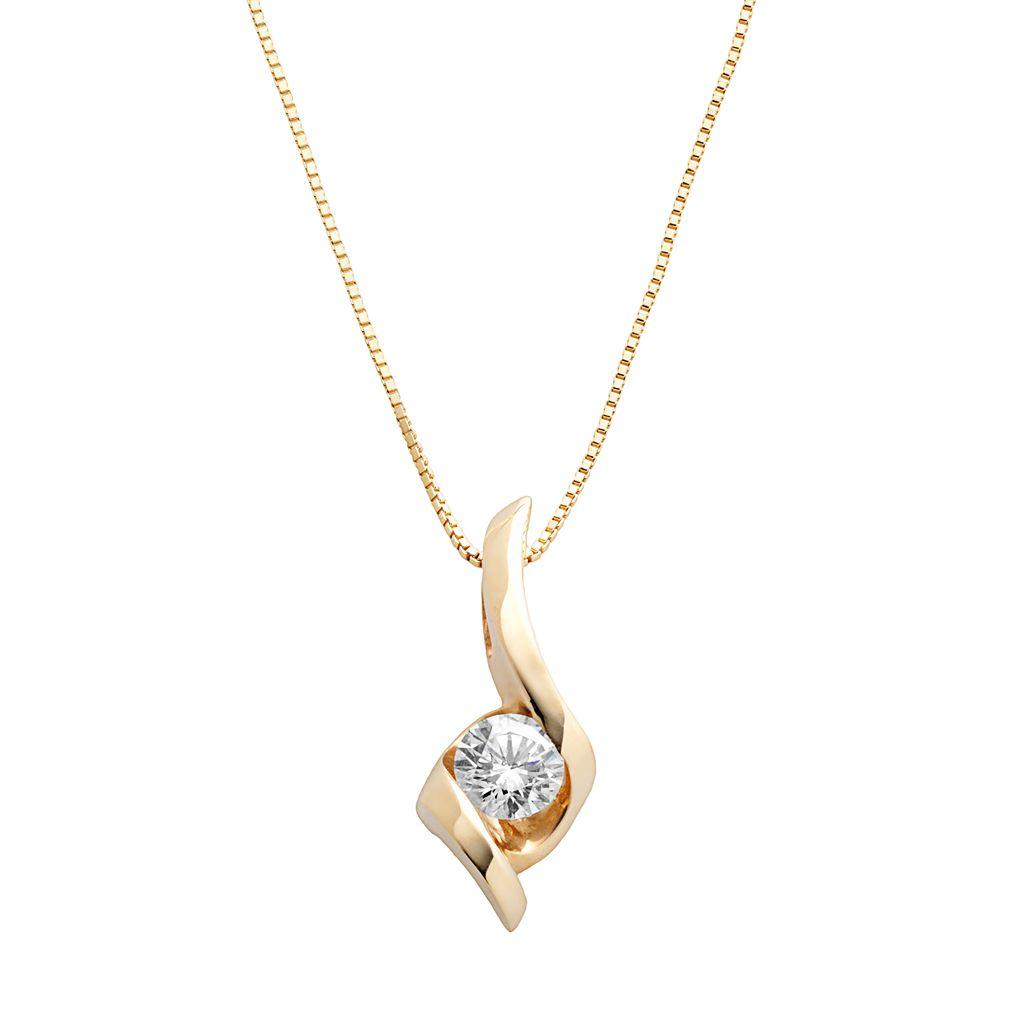 Sirena Collection 14k Gold 1/4-ct. T.W. Round-Cut Diamond Solitaire Swirl Pendant