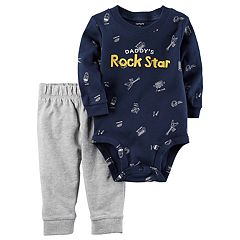 Baby Boy Carter's 'Daddy's Rockstar' Bodysuit & French Terry Pants Set