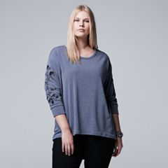 Plus Size Simply Vera Vera Wang Embroidered High-Low Tee