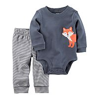 Baby Boy Carter's Embroidered Fox Bodysuit & Striped Pants Set