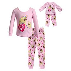 Girls 4-14 Dollie & Me 'bffs' Dog Top & Bottoms Pajama Set