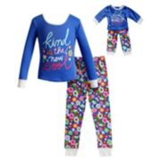 "Girls 4-14 Dollie & Me ""Kind is the New Cool"" Floral Top & Bottoms Pajama Set"