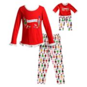 "Girls 4-14 Dollie & Me ""Nutcracker Princess"" Ruffled Top & Bottoms Pajama Set"