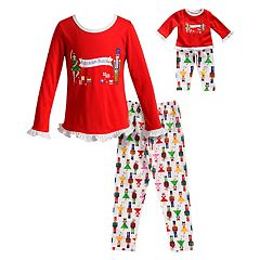Girls 4-14 Dollie & Me 'Nutcracker Princess' Ruffled Top & Bottoms Pajama Set