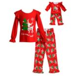 "Girls 4-14 Dollie & Me ""It's Snow Cold"" Reindeer Ruffled Top & Tree Bottoms Pajama Set"