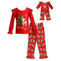 Girls 4-14 Dollie & Me 'It's Snow Cold' Reindeer Ruffled Top & Tree Bottoms Pajama Set