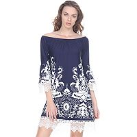 Women's White Mark Scroll Off-the-Shoulder Dress