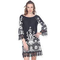 Women's White Mark Scroll Off-the-Shoulder Dress
