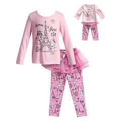 Girls 4-14 Dollie & Me 'Dream of Paris' Eiffel Tower Top & Tulle Skirt Bottoms Pajama Set
