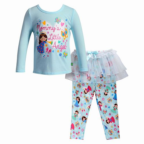 "Girls 4-14 Dollie & Me ""Mommy's Little Angel"" Top & Skirted Bottoms Pajama Set"