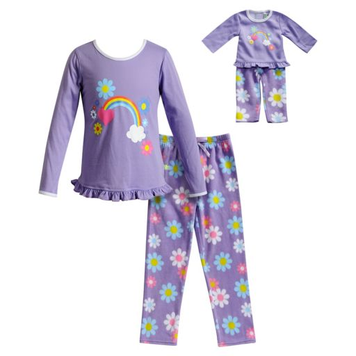 Girls 4-14 Dollie & Me Flower & Rainbow Top & Fleece Bottoms Pajama Set