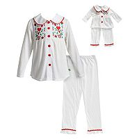 Girls 4-14 Dollie & Me Button Front Embroidered Top & Bottoms Pajama Set