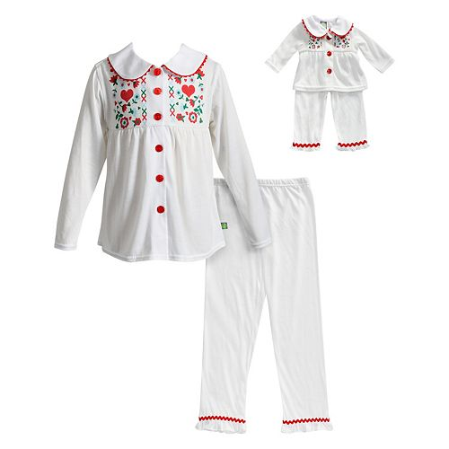 Girls 4-14 Dollie & Me Button Front Top & Bottoms Pajama Set