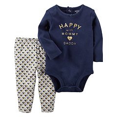 Baby Girl Carter's 'Happy with Mommy & Daddy' Bodysuit & Patterned Leggings Set
