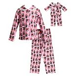 Girls 4-14 Dollie & Me Panda Bear Top & Bottoms Pajama Set