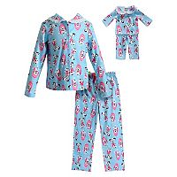 Girls 4-14 Dollie & Me Dalmatian Top & Bottoms Pajama Set