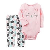 Baby Girl Carter's Character Face Bodysuit & Polka-Dot Pants Set
