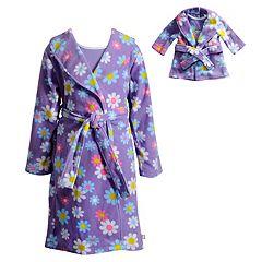 Girls 4-14 Dollie & Me Flower & Rainbow Knee-Length Nightgown & Robe Pajama Set