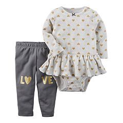 Baby Girl Carter's Peplum Heart Bodysuit & 'LOVE' Knee Pants