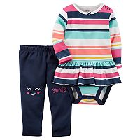 Baby Girl Carter's Striped Peplum Bodysuit & Graphic Leggings Set