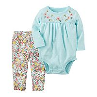 Baby Girl Carter's Polka-Dot Bodysuit & Floral Leggings Set