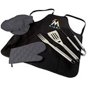 Picnic Time Miami Marlins BBQ Apron, Utensil & Tote Set