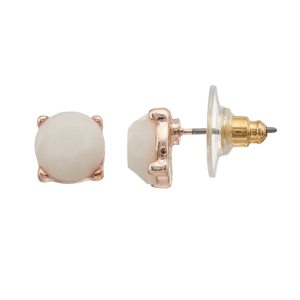 LC Lauren Conrad White Faceted Stone Nickel Free Round Stud Earrings