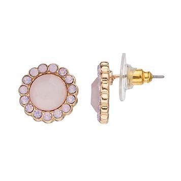 LC Lauren Conrad Nickel Free Round Pink Halo Stud Earrings