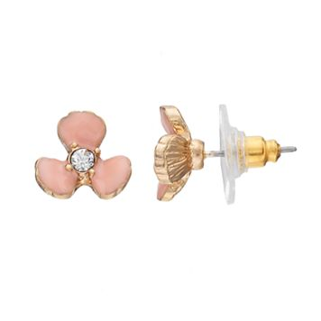 LC Lauren Conrad Nickel Free Pink Flower Stud Earrings