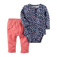 Baby Girl Carter's Floral Henley Bodysuit & Ruffle Pants Set