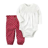Baby Girl Carter's Embroidered Lace Bodysuit & Patterned Pants Set