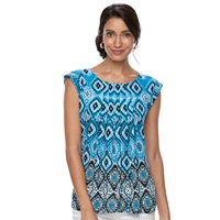 Petite Dana Buchman Printed Pleated Top