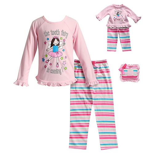 "Girls 4-14 Dollie & Me ""The Tooth Fairy Is Coming"" Striped Pajama Set with Tooth Pillow"