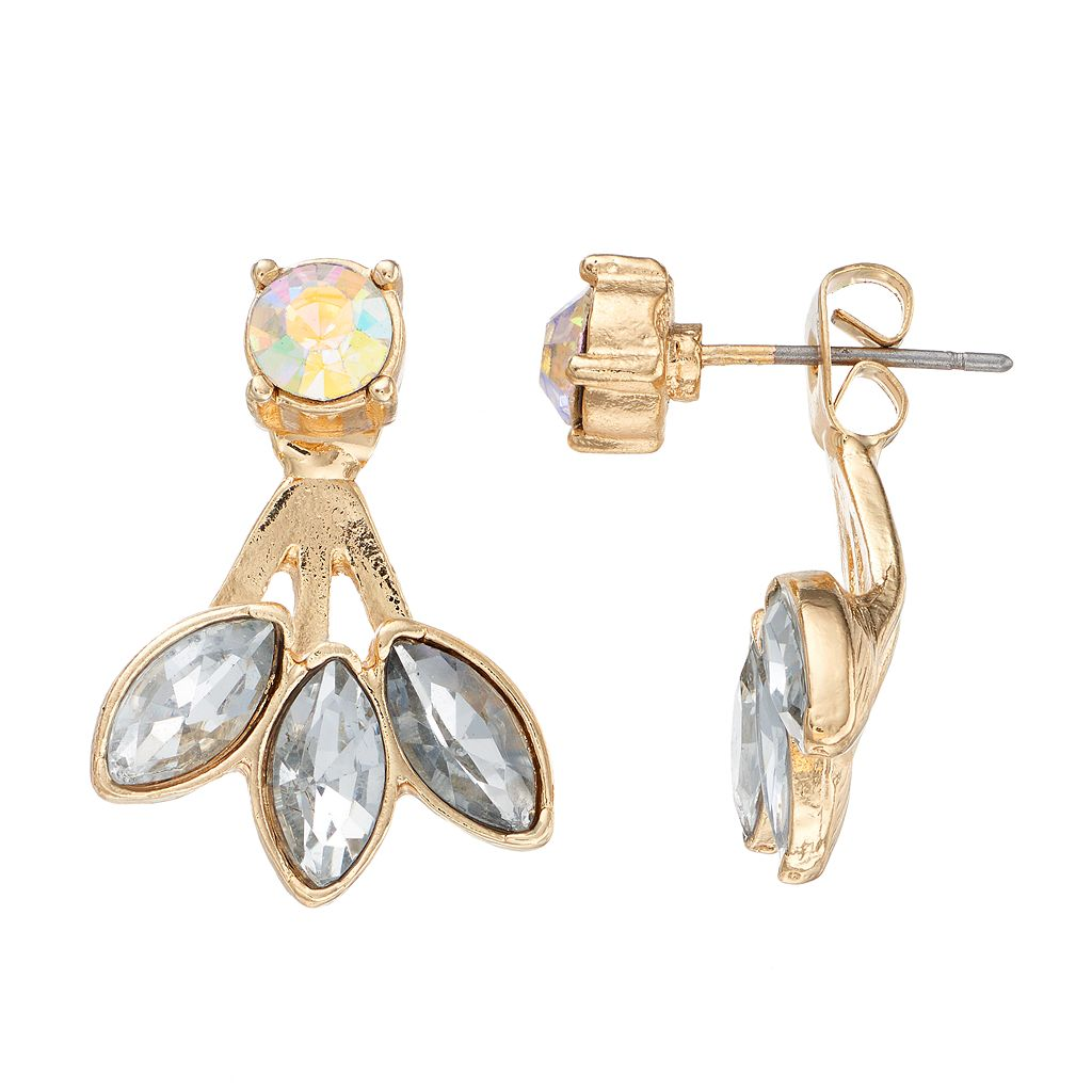 LC Lauren Conrad Faceted Stone Nickel Free Fan Front Back Earrings