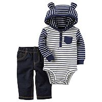 Baby Boy Carter's 3D Ear Hooded Striped Bodysuit & Faux-Denim Pants Set