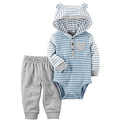 Baby Boy Carter's 3D Ear Hooded Striped Bodysuit & Pants Set